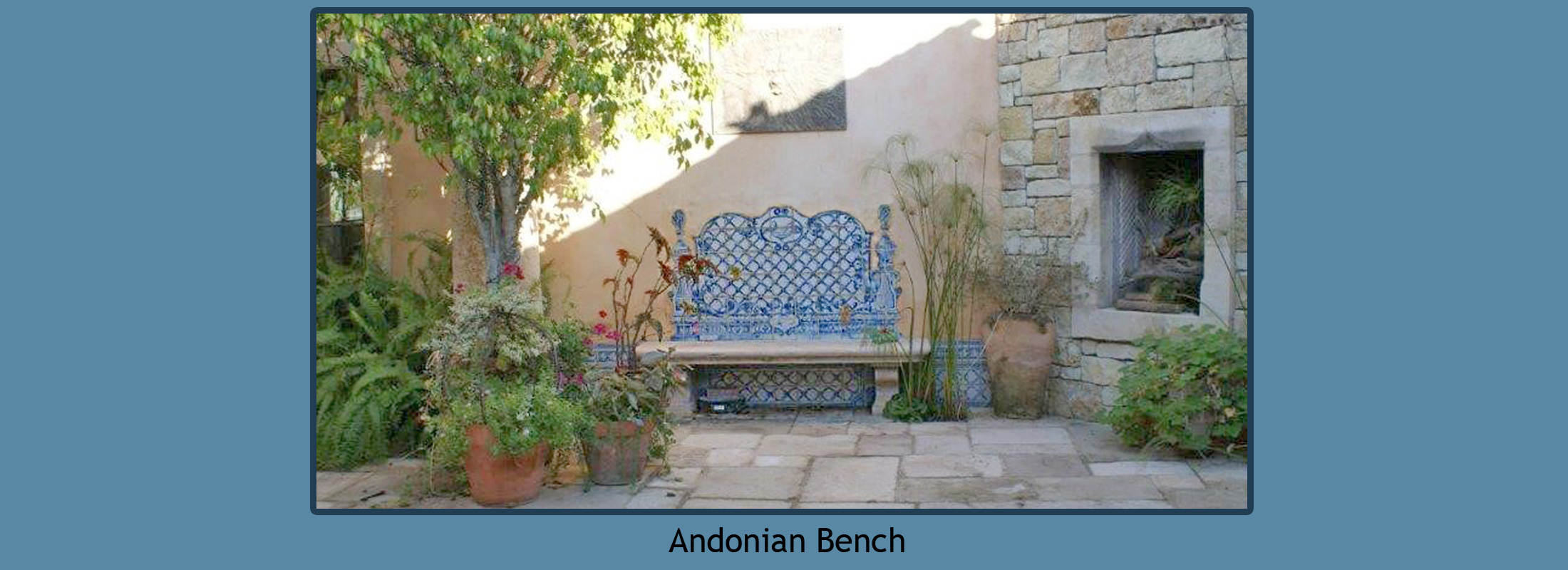 Portuguese Tile Art - Blue and White Azulejos - Tile Mural Bench